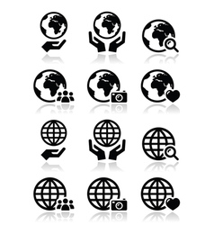 Globe earth with hands icons set with refle vector