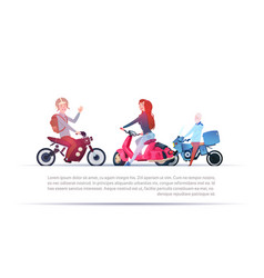 Group of people riding different motorcycles vector