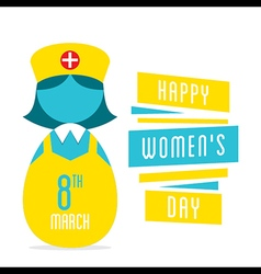 happy womens day women nurse profession design vector image vector image
