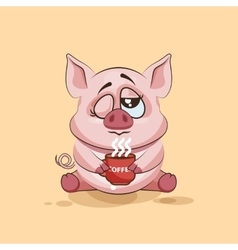 Isolated emoji character cartoon pig just woke up vector