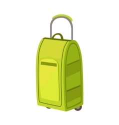 Large green suitcase on wheels with telescopic vector