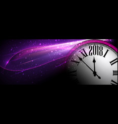 lilac 2018 new year clock banner vector image vector image