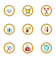 medieval war icon set cartoon style vector image