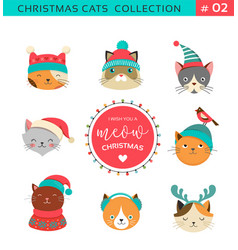 merry christmas cats collection vector image