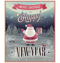 New Year Santa poster vector image