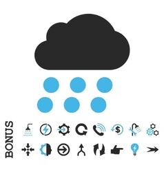 Rain Cloud Flat Icon With Bonus vector image vector image