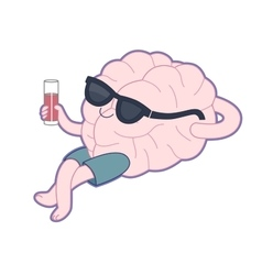 Relaxing with a glass of juice Brain collection vector image