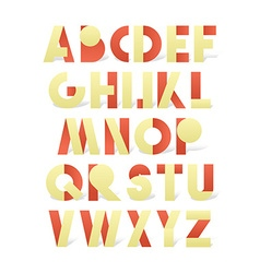 Retro font in red and yellow Beige alphabet with vector image vector image