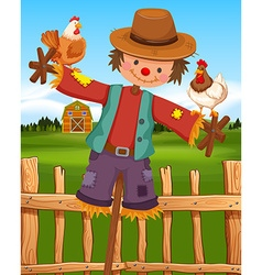 Scarecrow and chickens on the farm vector image