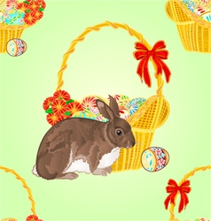 Seamless texture easter rabbit and easter wicker vector