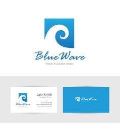 Square blue wave vector image vector image