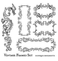 Vintage frames set detailed and ornated vector
