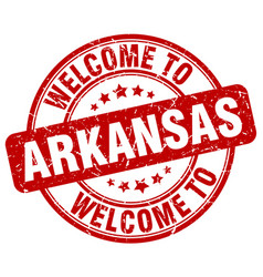 Welcome to arkansas red round vintage stamp vector