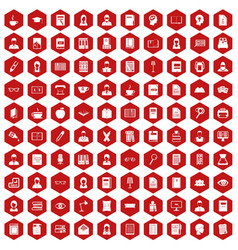 100 reader icons hexagon red vector