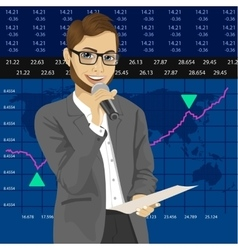 Tv reporter with exchange graph chart data report vector