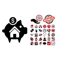 Realty piggy bank flat icon with bonus vector
