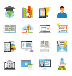 1608i124025pm004c23online education flat icons vector