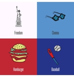American national symbols icons set vector