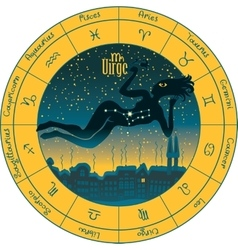 Virgo with the signs of the zodiac vector image