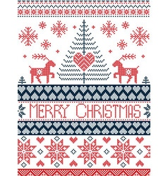 Merry xmas tall xmas pattern with reindeer in red vector
