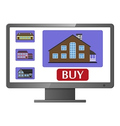 Computer monitor with realty selling web site vector
