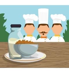 Three character chef breakfast cereal milk vector