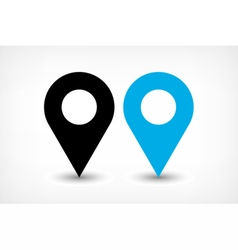 Blue map pins sign icon in flat style vector
