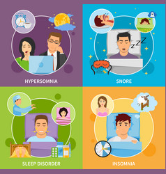 Sleep disorders compositions set vector