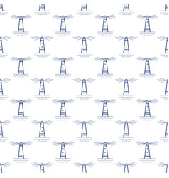 Seamless pattern with lighthouse line style vector