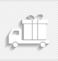 Delivery gift sign  white icon with soft vector