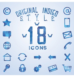 Blue indigo watercolor icons vector