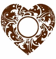 grunge valentine heart frame backgroun vector image