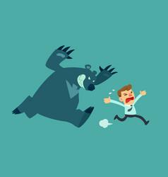 business man run from bear vector image
