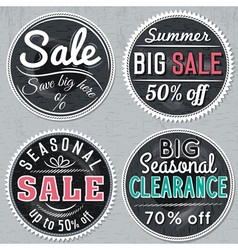Black round banners with sale offer vector