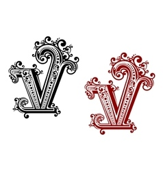 Capital letter v with floral elements vector