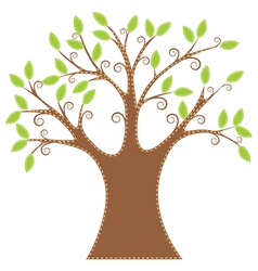 Green tree embroidered applique vector