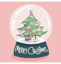 Colorful christmas poster with cartoon snow globe vector