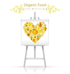 Vegetarian heart on canvas and easel yellow vector