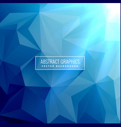 Abstract blue background with low poly triangle vector