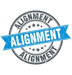 Alignment round grunge ribbon stamp vector