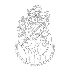 black and white drawing of indian hindu goddess vector image vector image