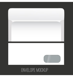 Blank envelope mockup with window front and back vector image