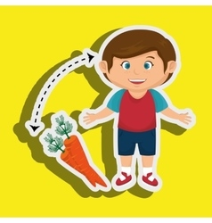 Boy cartoon carrot vegetable organic vector