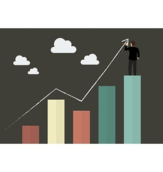 Businessman standing on bar graph drawing a growth vector