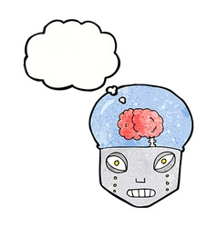 Cartoon spooky robot head with thought bubble vector