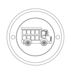 Circular contour of silhouette with dump truck vector