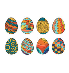 Collection of colorful easter eggs in doodle style vector