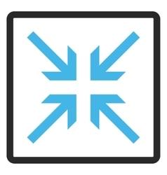 Collide arrows framed icon vector