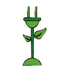 Drawing plug cable leaves ecology energy symbol vector