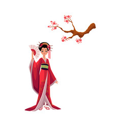 Geisha in kimono and cherry tree sakura branch vector